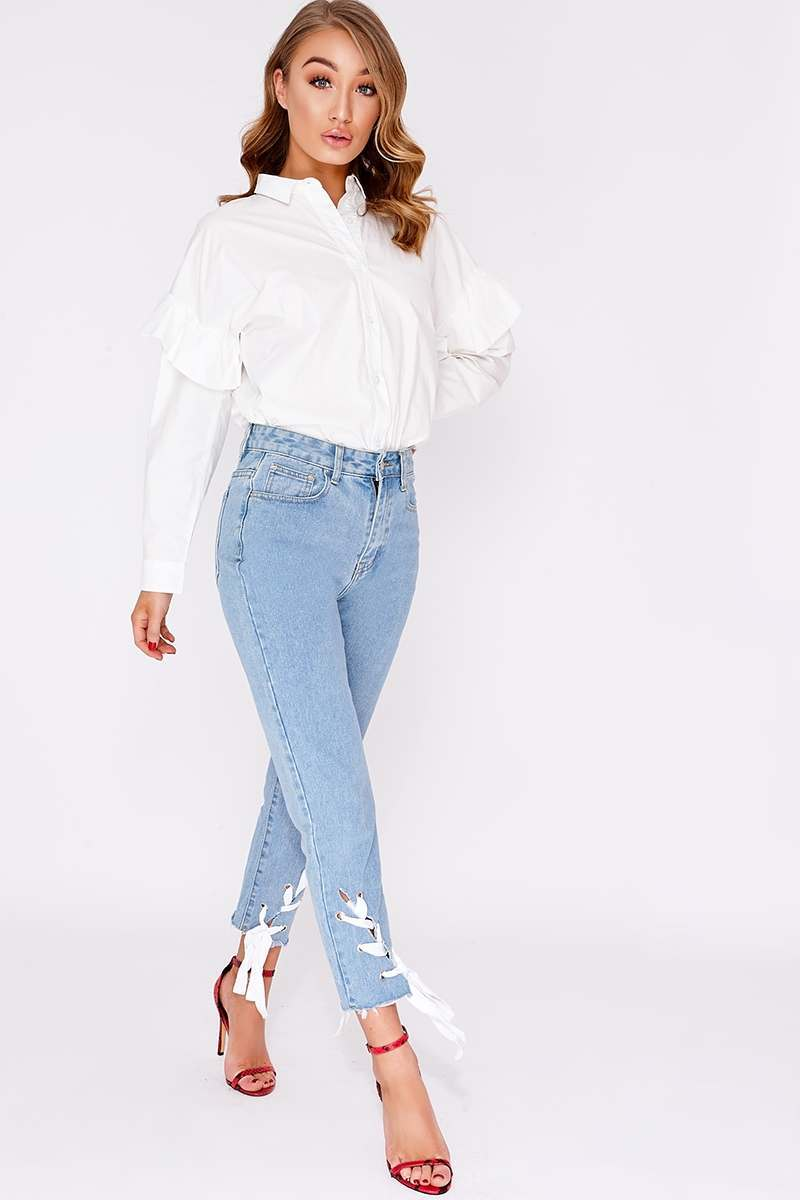 light wash high waisted lace up mom jeans