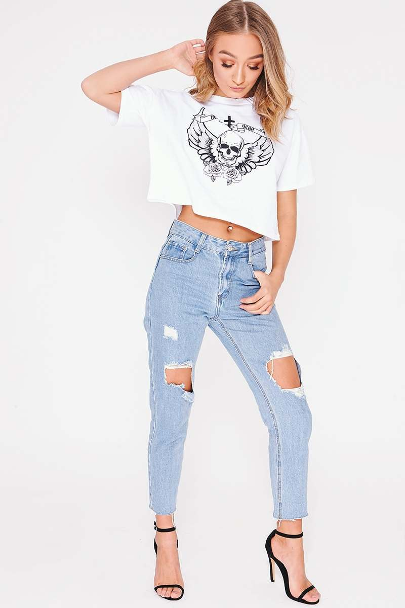 BRISA MID WASH FRAYED HEM DISTRESSED MOM JEANS