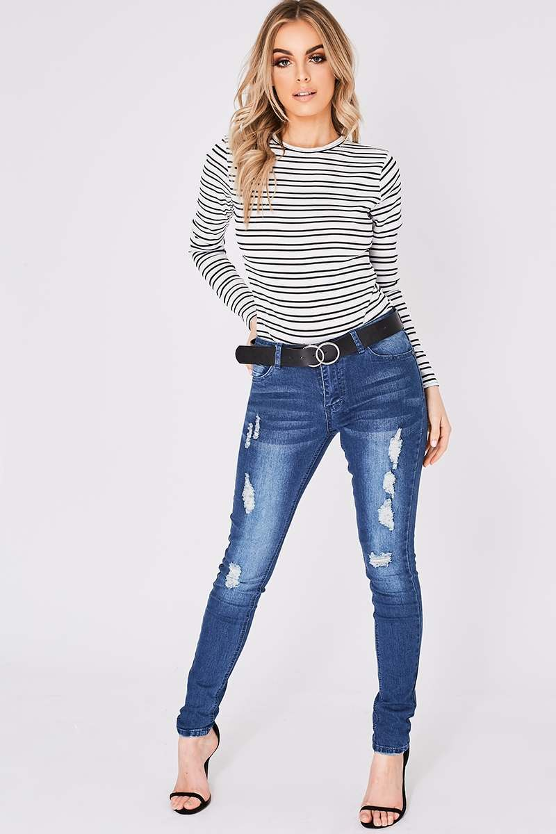 mid wash distressed skinny jeans