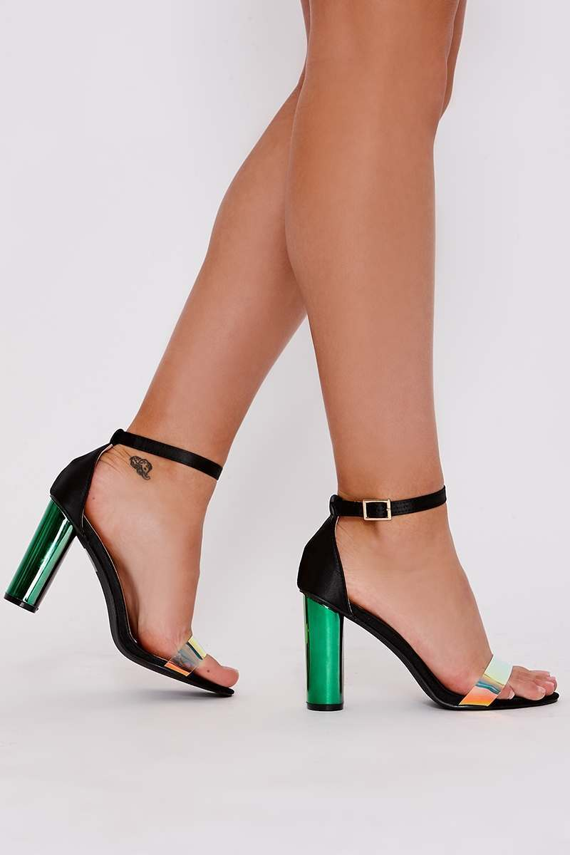 black satin iridescent clear strap barely there heels