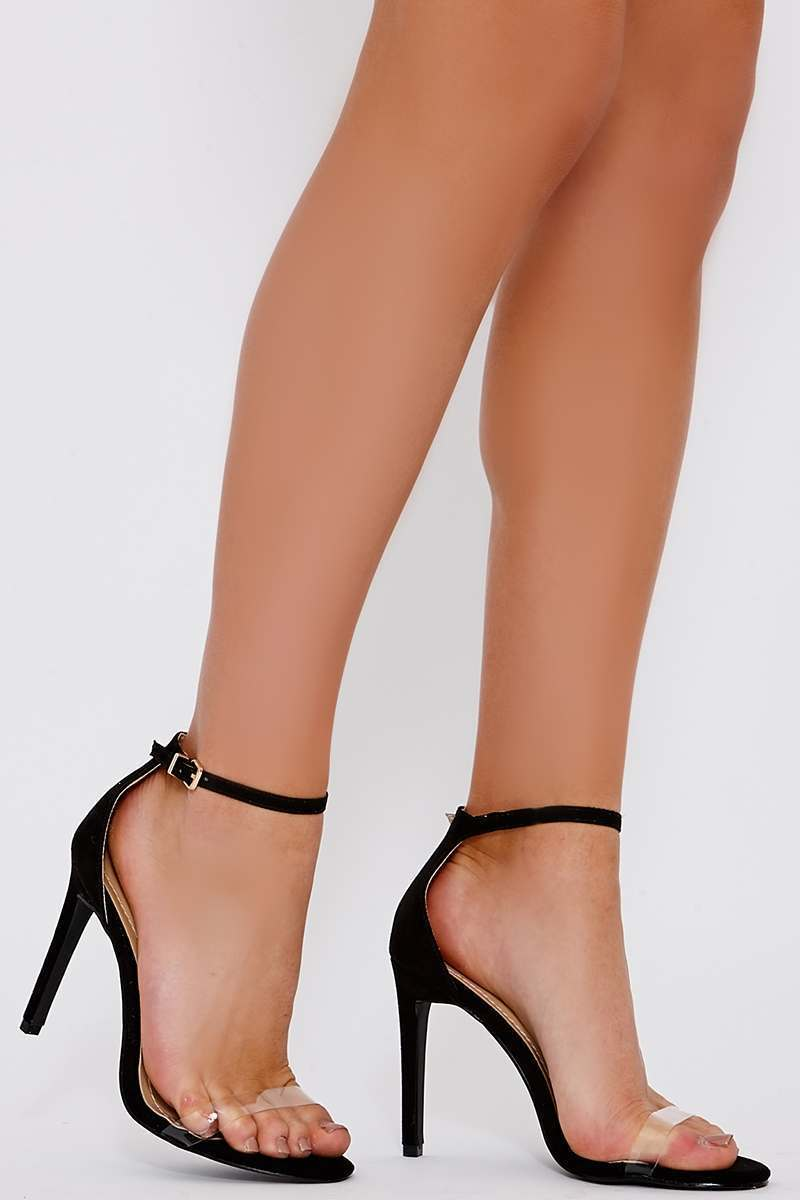 black faux suede barely there heels
