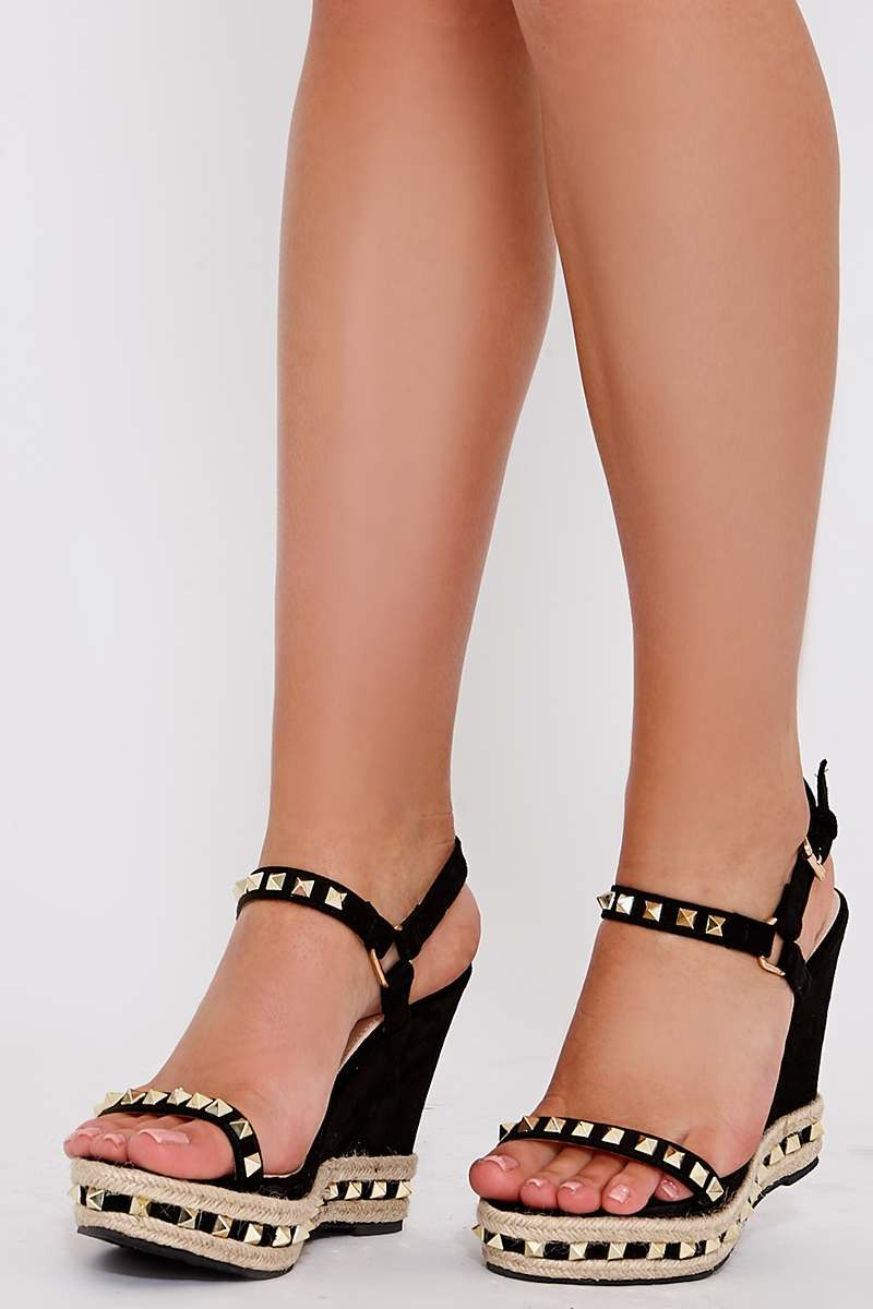 THEA BLACK FAUX SUEDE STUDDED WEDGES