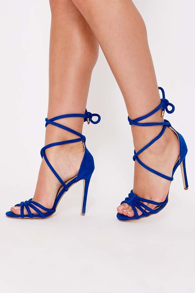 LALANA BLUE FAUX SUEDE STRAPPY TIE UP LEG HEELS