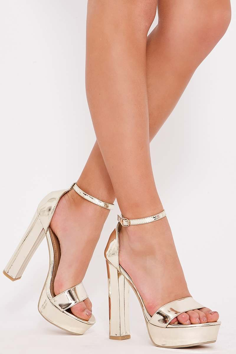 SOREN GOLD METALLIC PLATFORM BARELY THERE HEELS