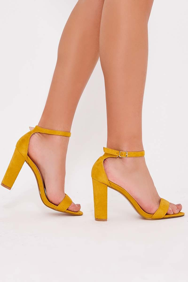 PAYDEN MUSTARD FAUX SUEDE ANKLE STRAP HEELS