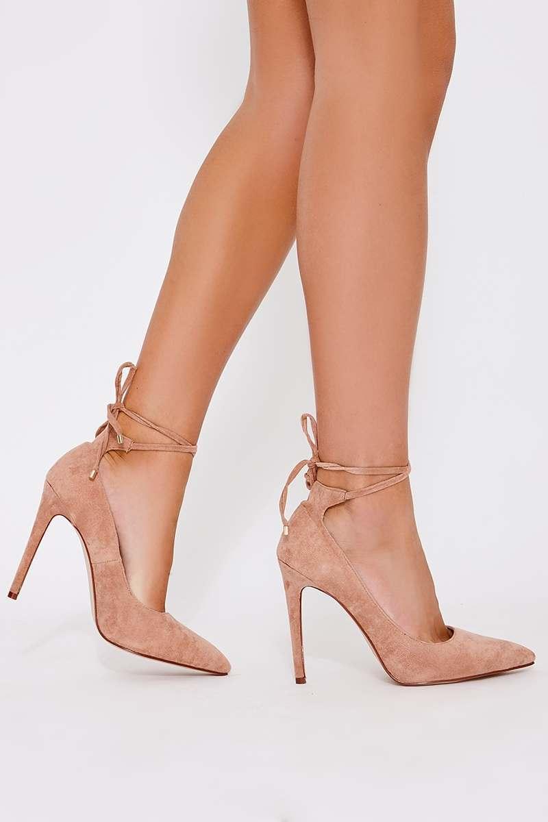blush faux suede lace up court heels
