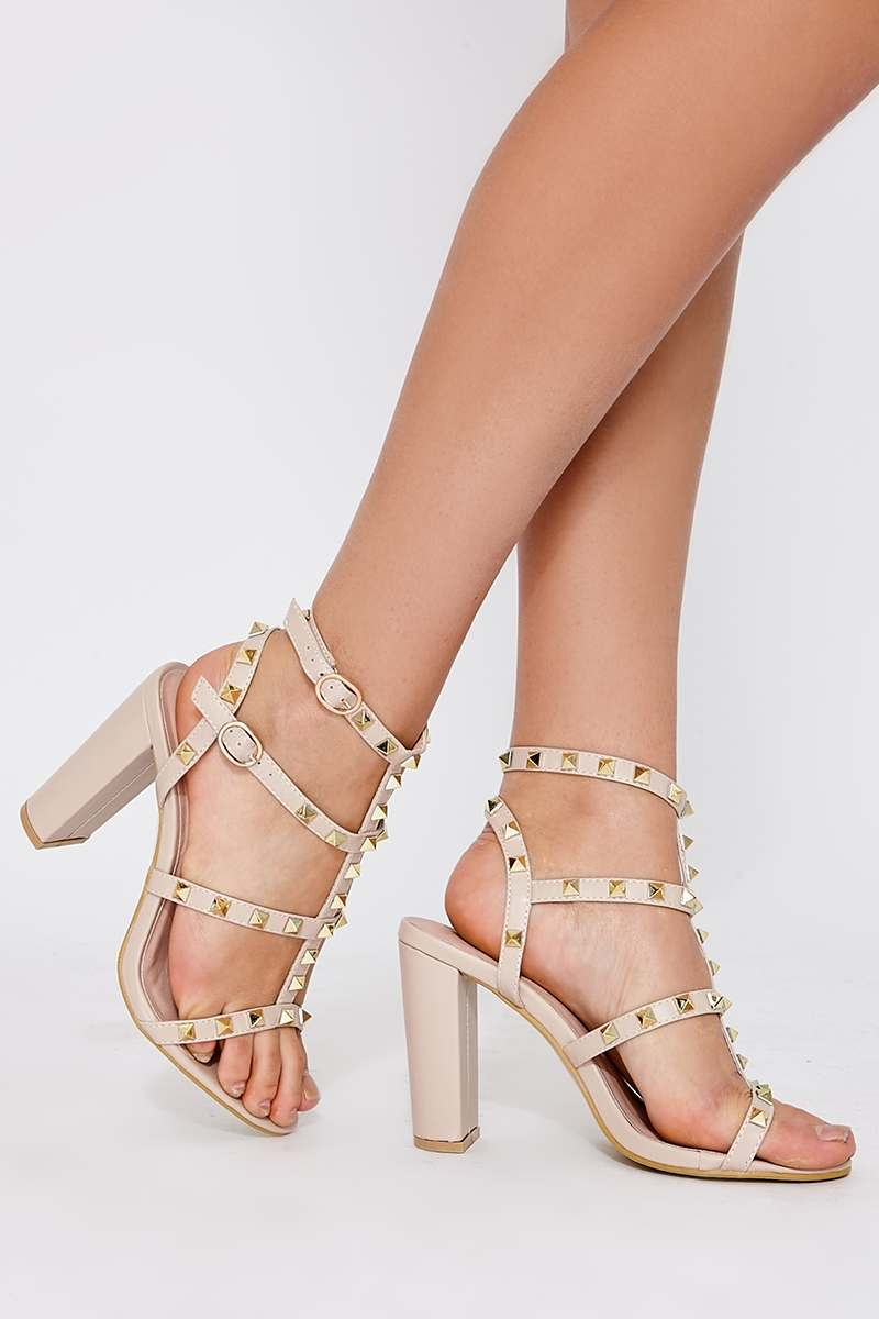 WYATT NUDE FAUX LEATHER STUDDED STRAP SANDAL HEELS