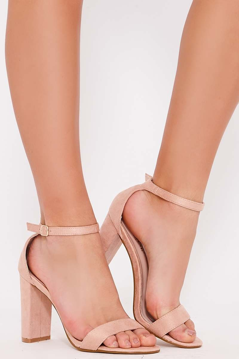 nude faux suede ankle strap heels