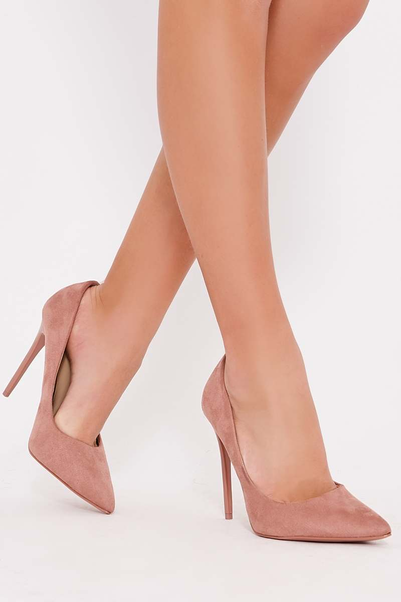 pink faux suede court heels