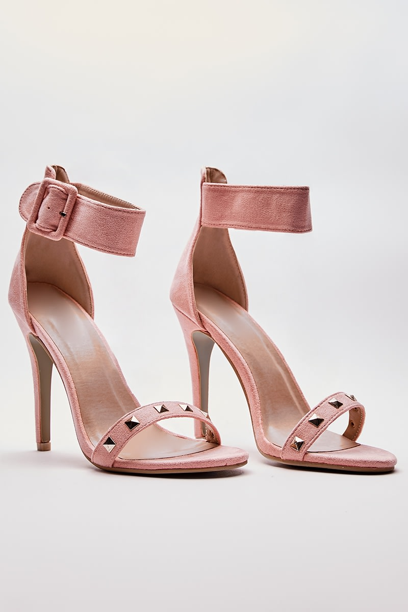 blush faux suede studded barely there heels