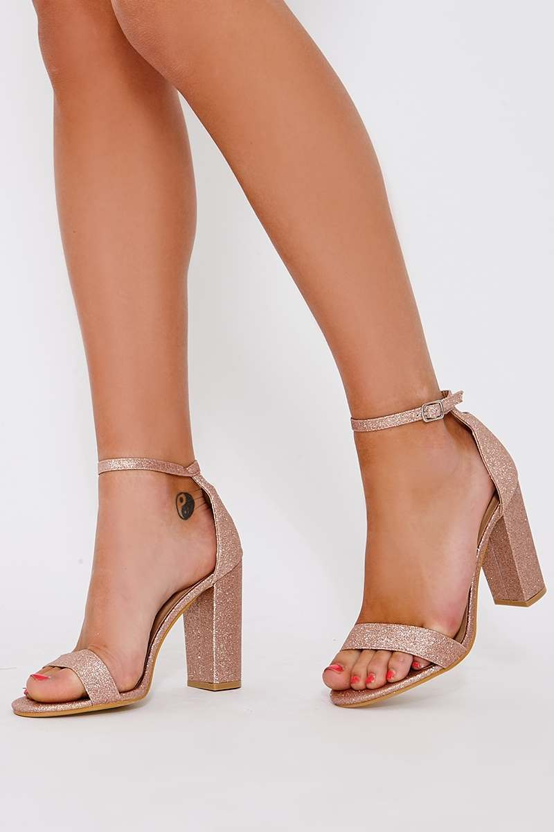 rose gold glitter barely there heels