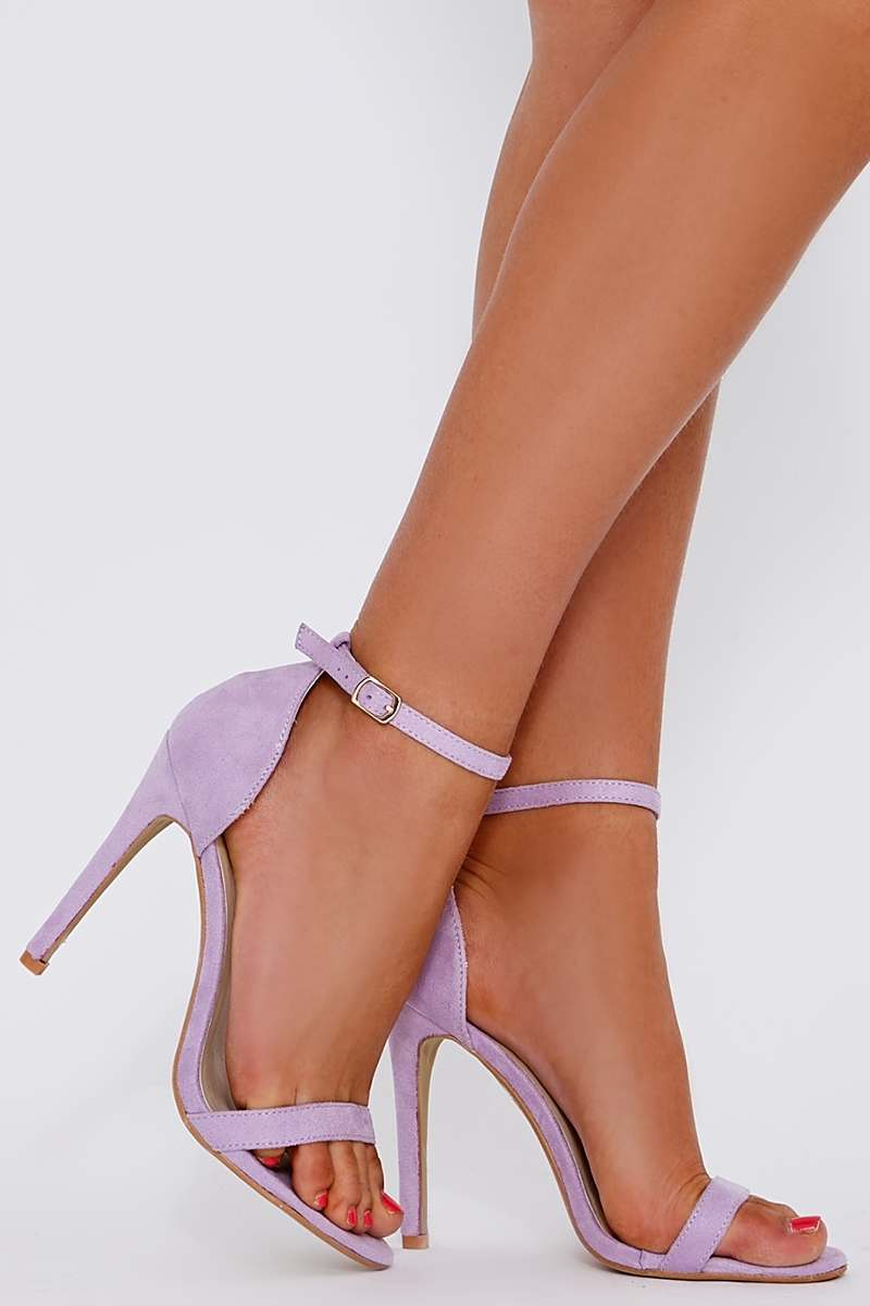 lilac faux suede ankle strap heels