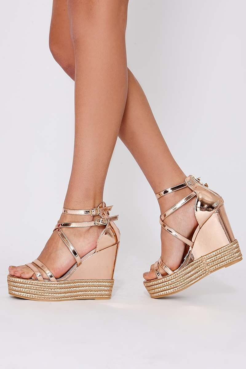 rose gold chrome faux leather wedges