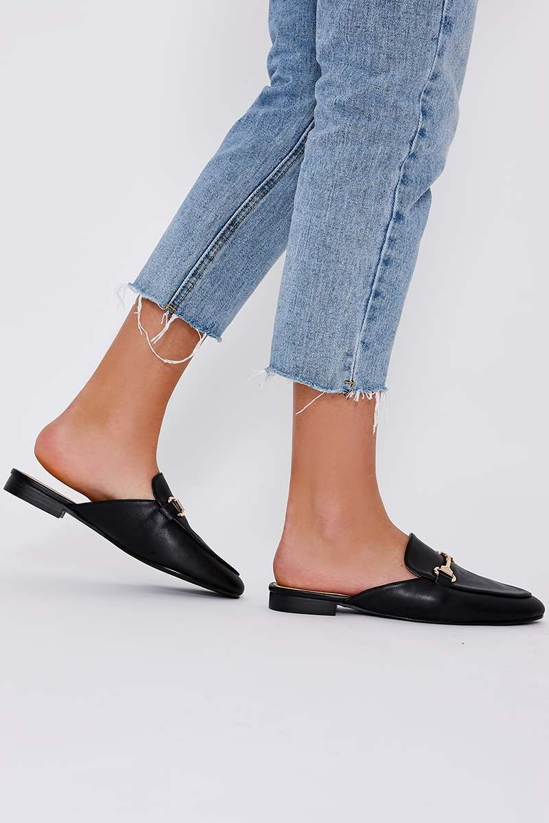 black faux leather backless loafers