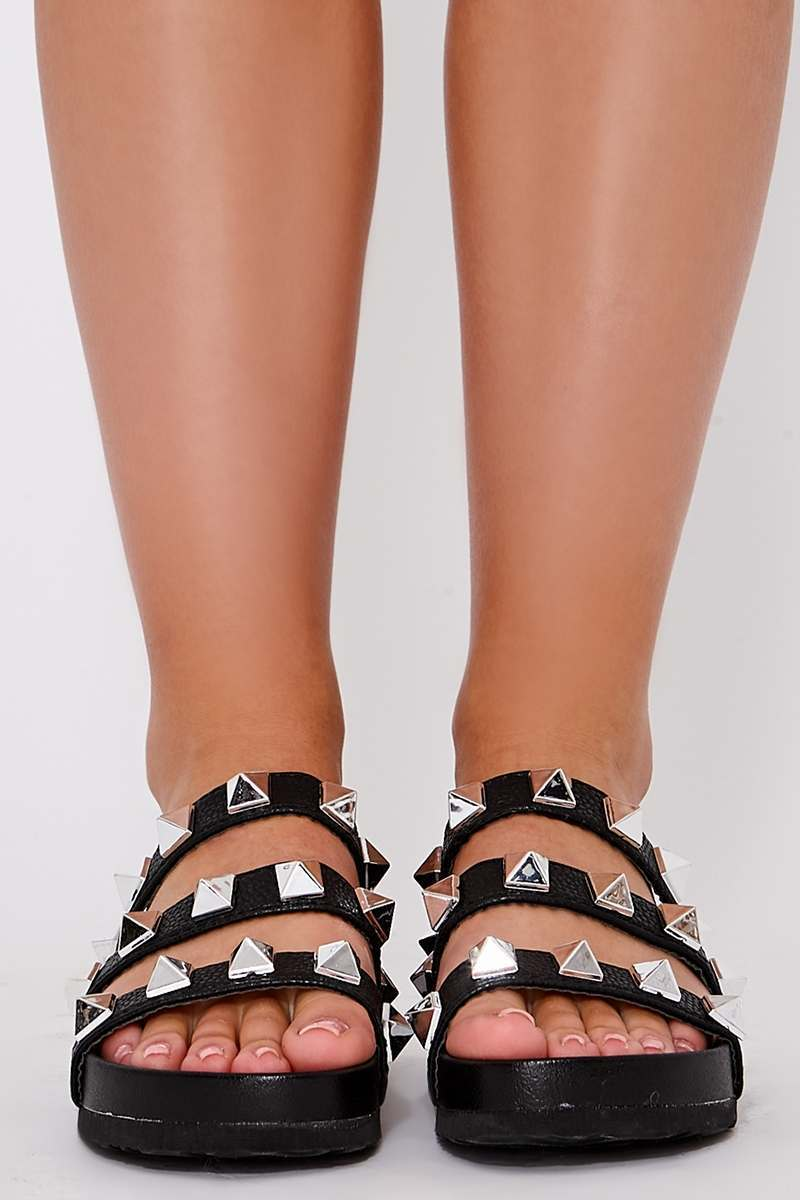 Black Studded Sliders   In The Style
