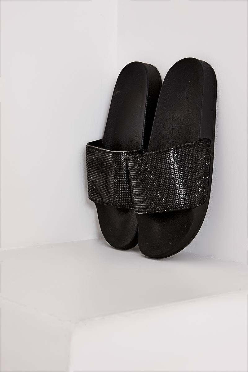 RAY BLACK DIAMANTE SLIDERS