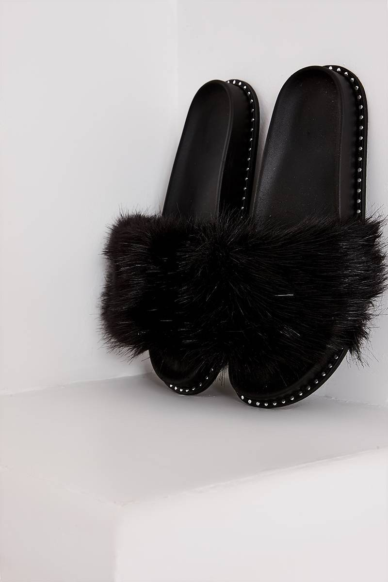 black faux fur studded sole sliders