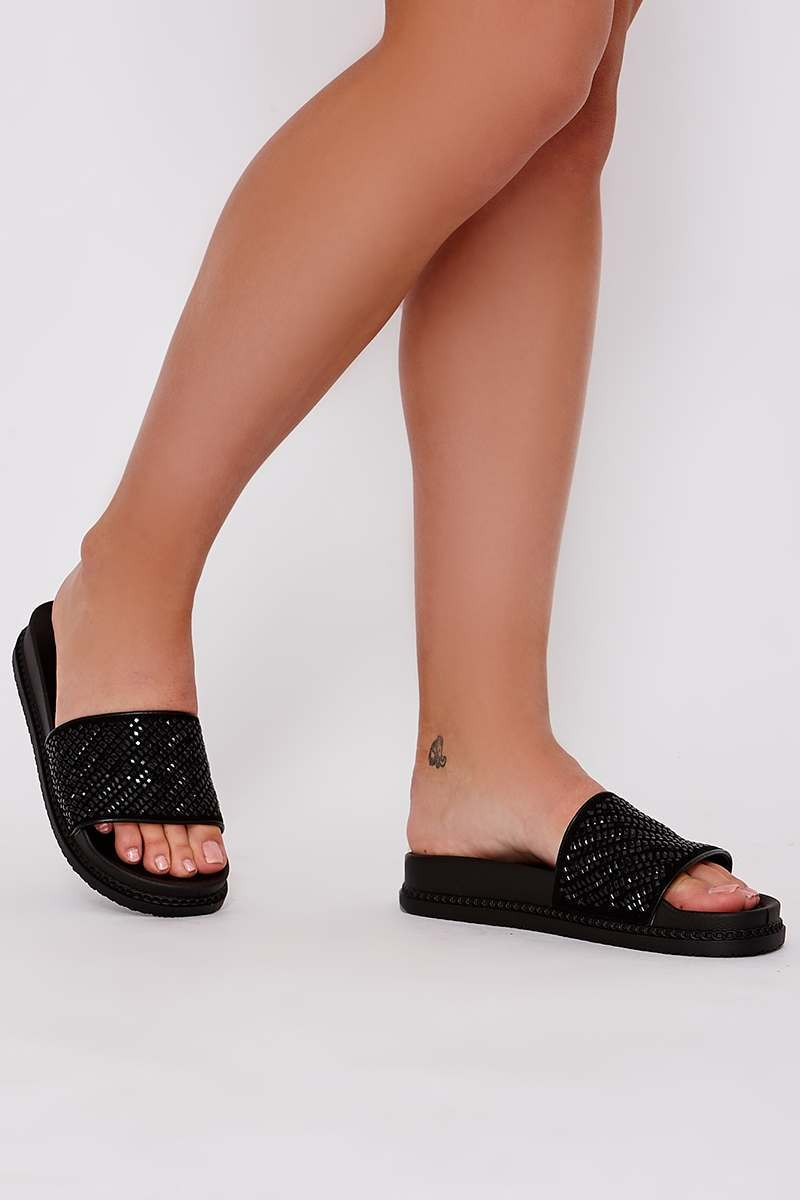 black diamante platform sliders