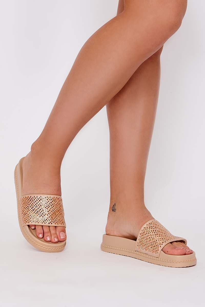 HENRIA GOLD DIAMANTE PLATFORM SLIDERS