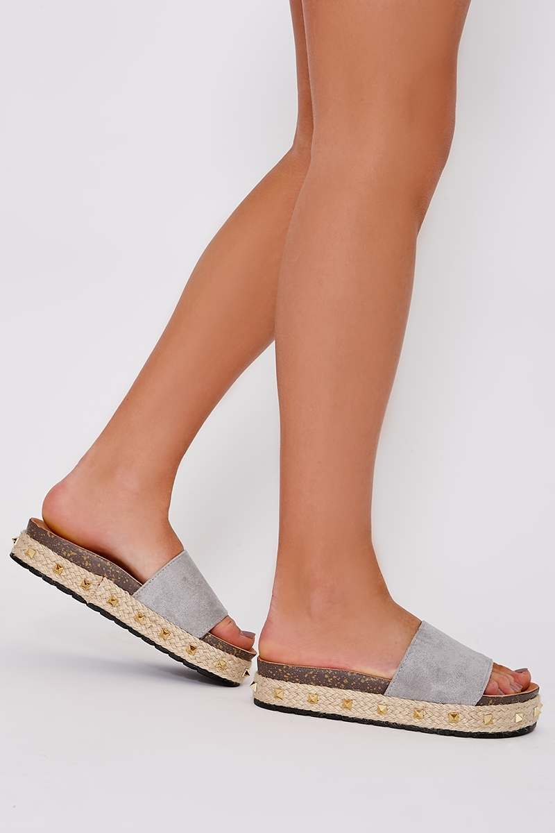 grey faux suede studded flatforms