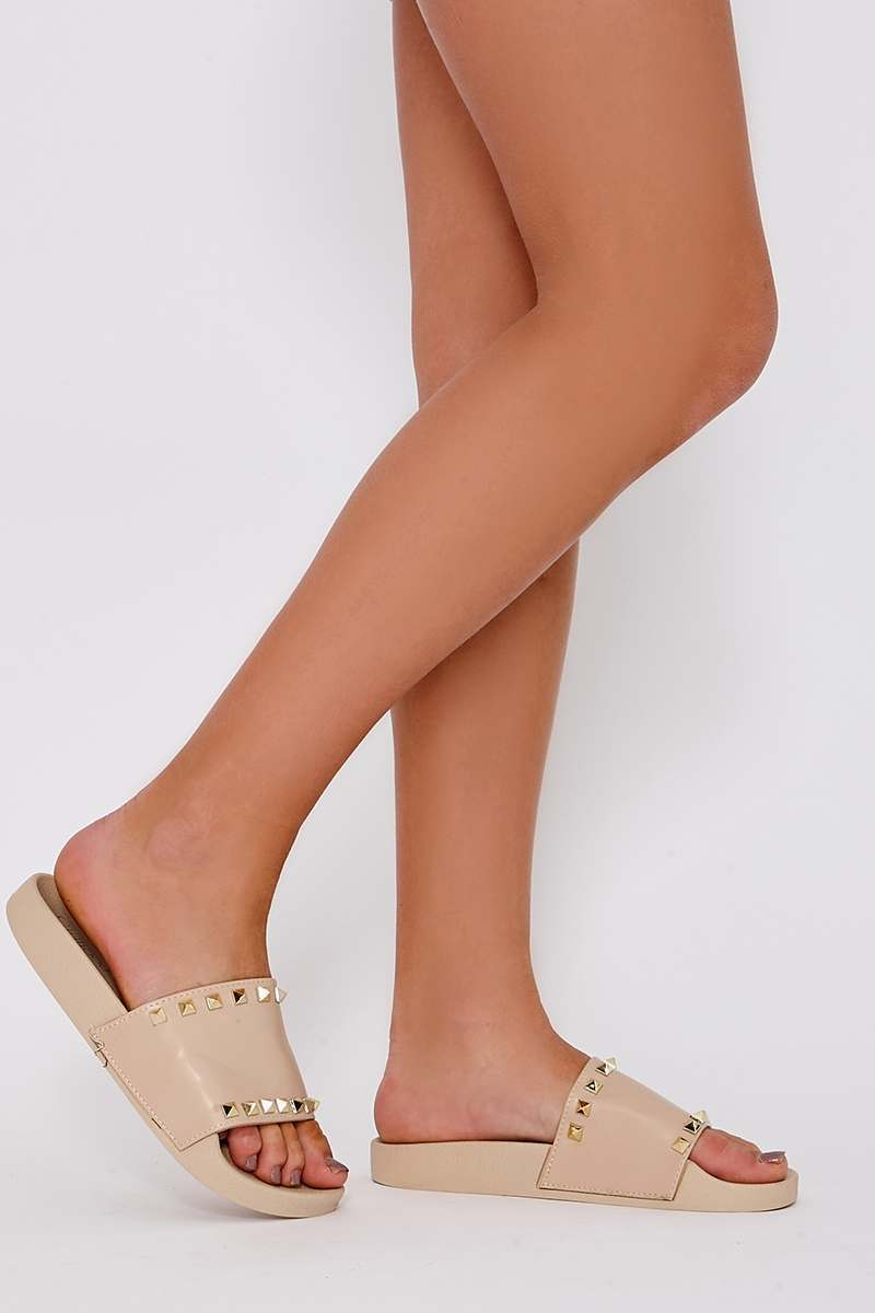 HELLAINE NUDE STUDDED SLIDERS