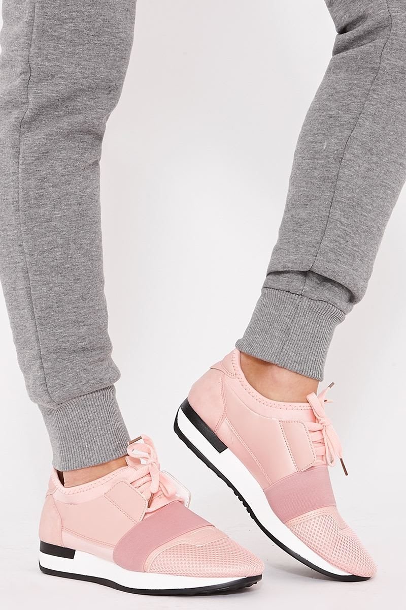 pink mesh panelled trainers