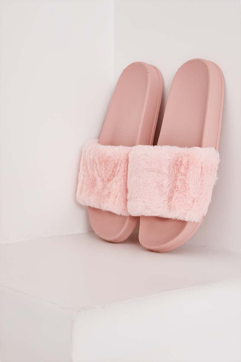STORMI PINK FAUX FUR SLIDERS