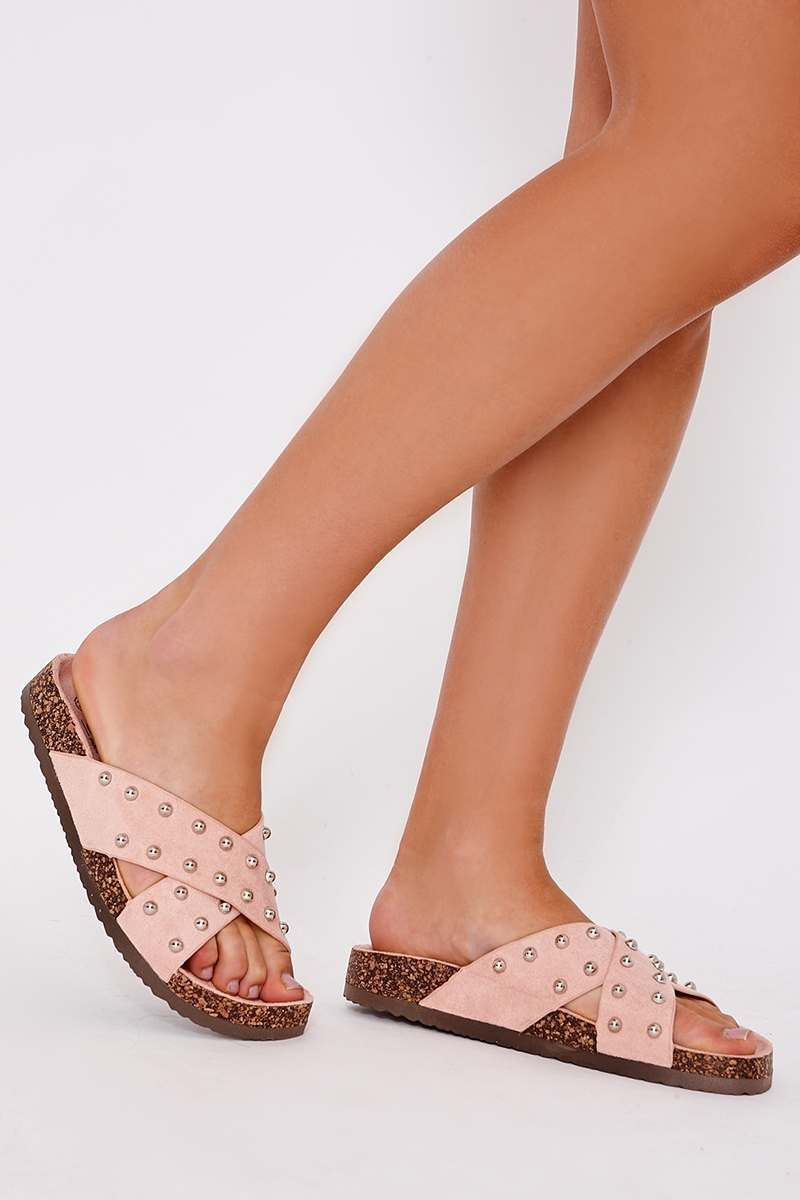 KARIME PINK FAUX SUEDE STUDDED CROSS FRONT SLIDERS