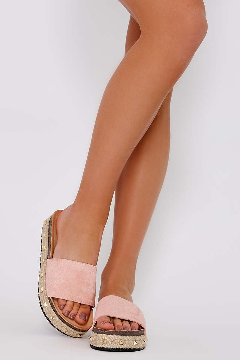 KASANDRA PINK FAUX SUEDE STUDDED FLATFORMS