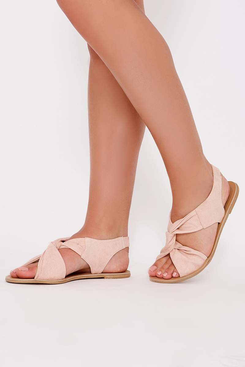 HANIA PINK FAUX SUEDE TWIST STRAP SANDALS