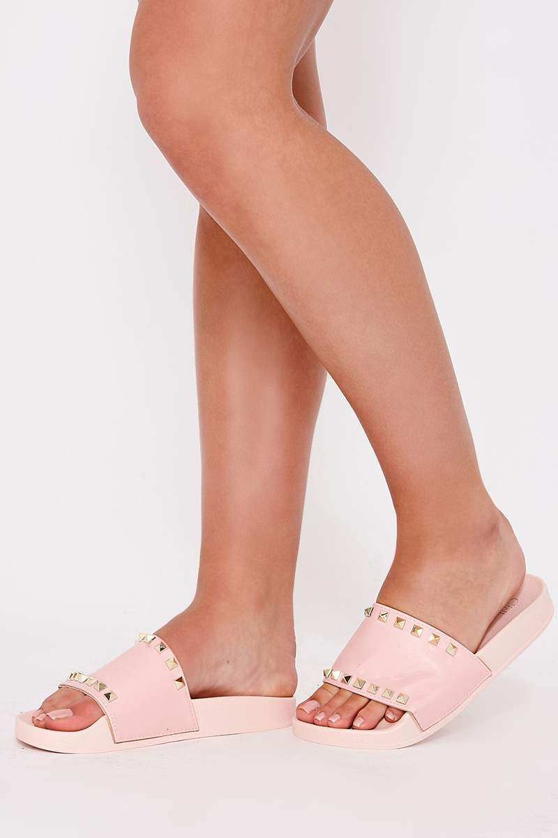 HELLAINE PINK STUDDED SLIDERS