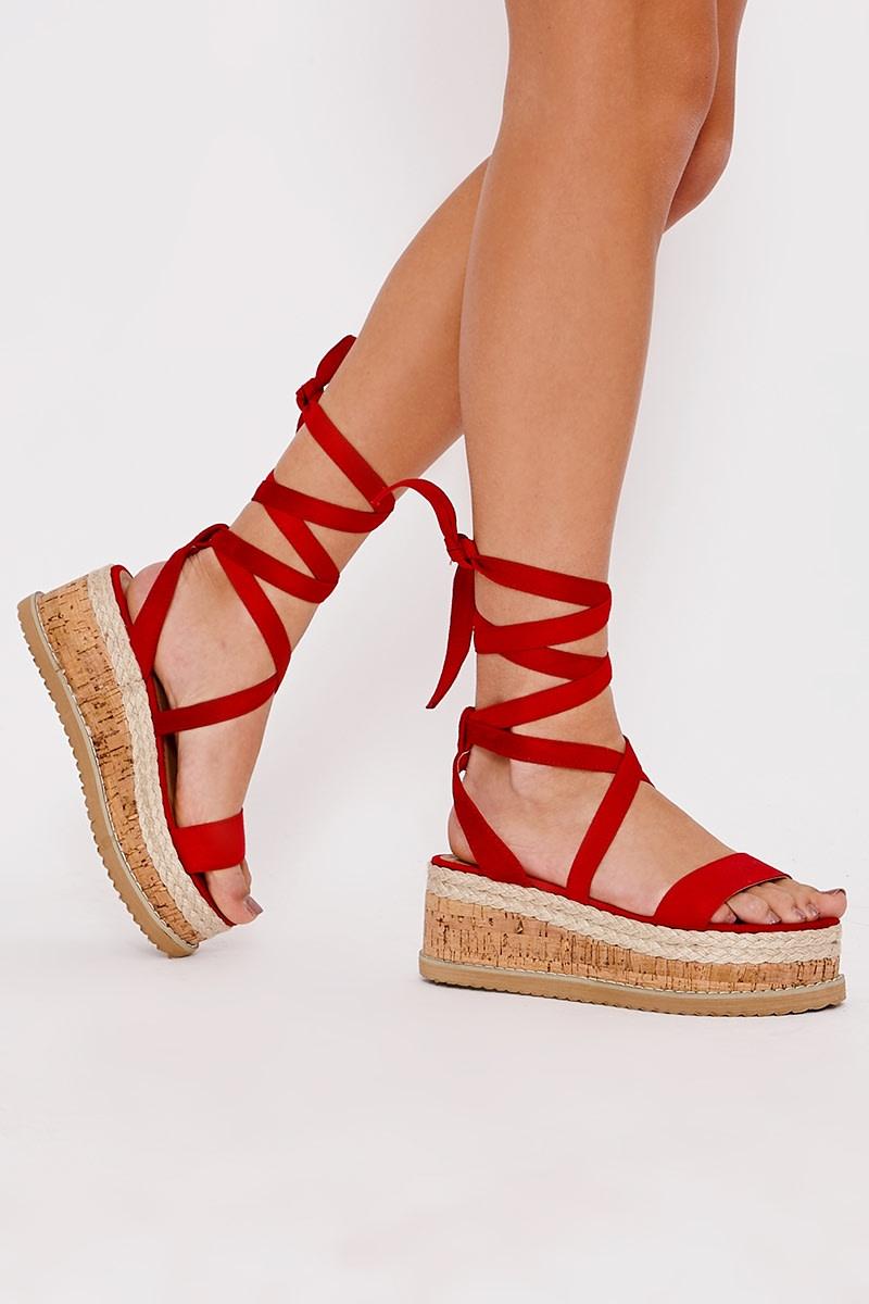 red faux suede tie leg platform espadrilles