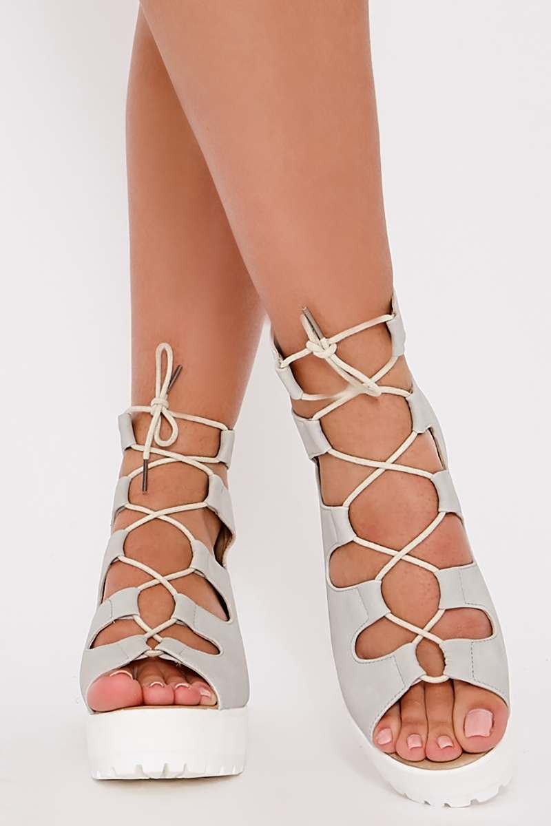 NATALINE STONE FAUX SUEDE LACE UP FLATFORMS