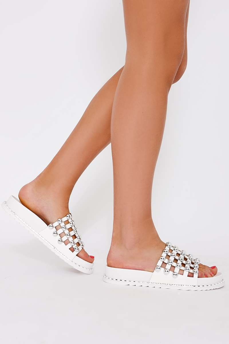 white faux leather round stud sliders