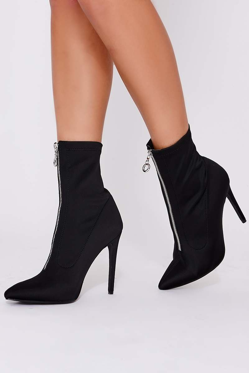 black zip detail heeled sock boots