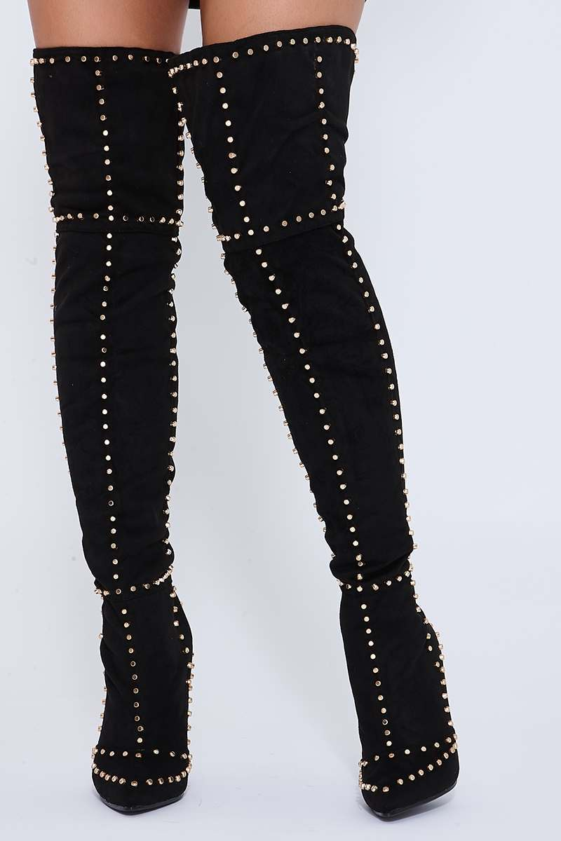 WILMER BLACK OVER THE KNEE STUDDED HIGH HEELED BOOTS