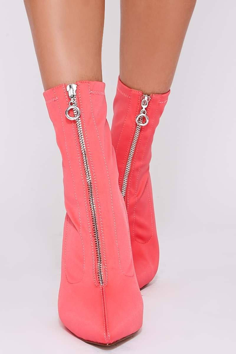 coral zip detail heeled sock boots