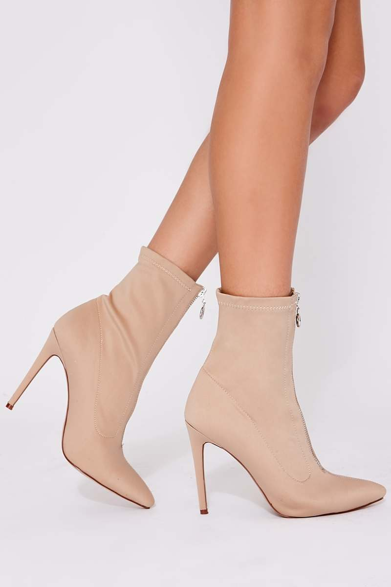 nude zip detail heeled sock boots