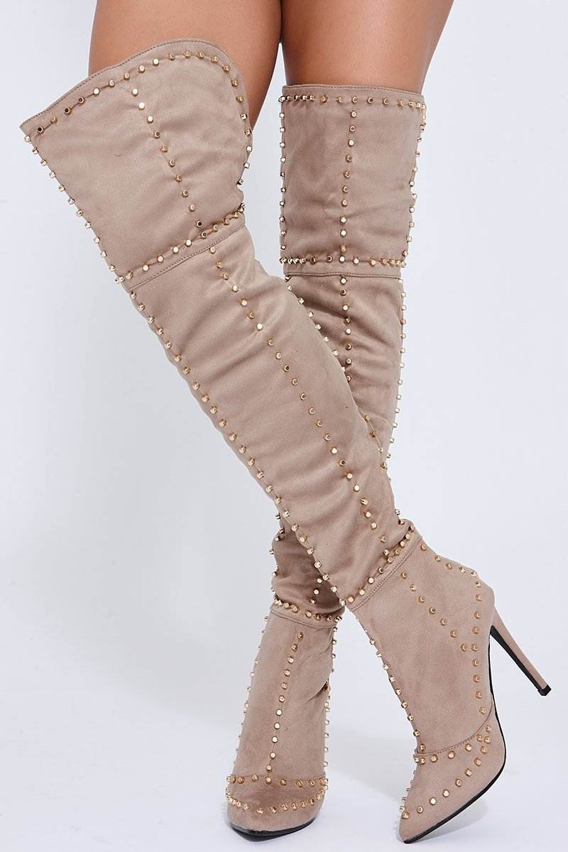 stone over the knee studded high heeled boots
