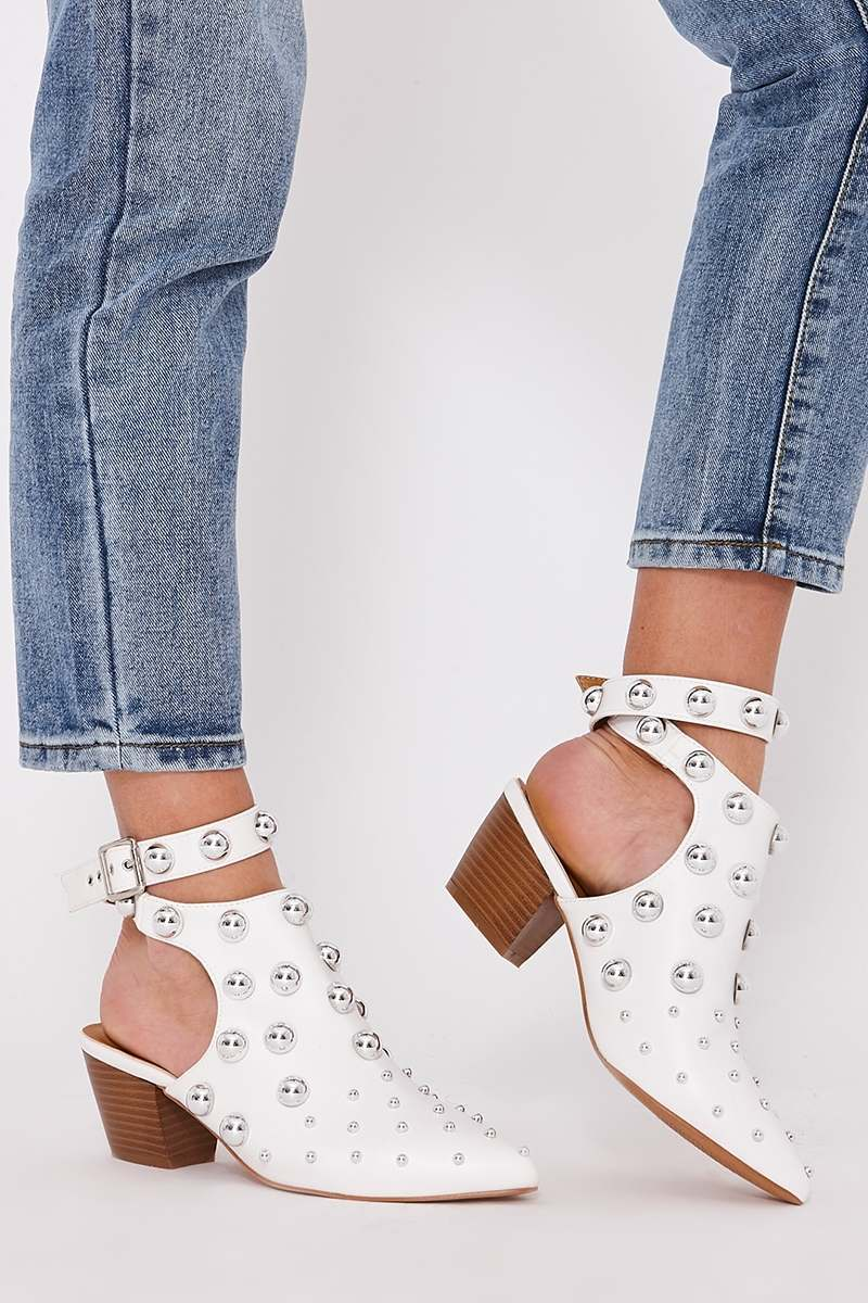 white faux leather open back studded ankle boots