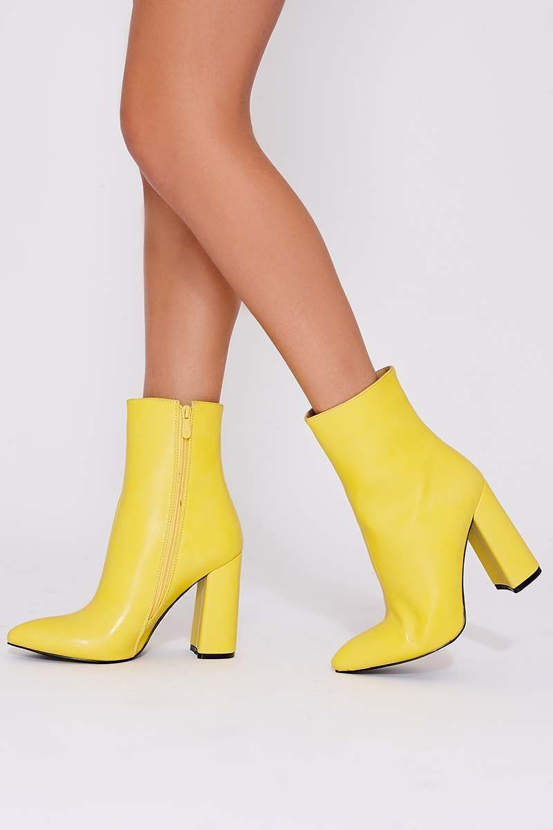 yellow faux leather heeled ankle boots