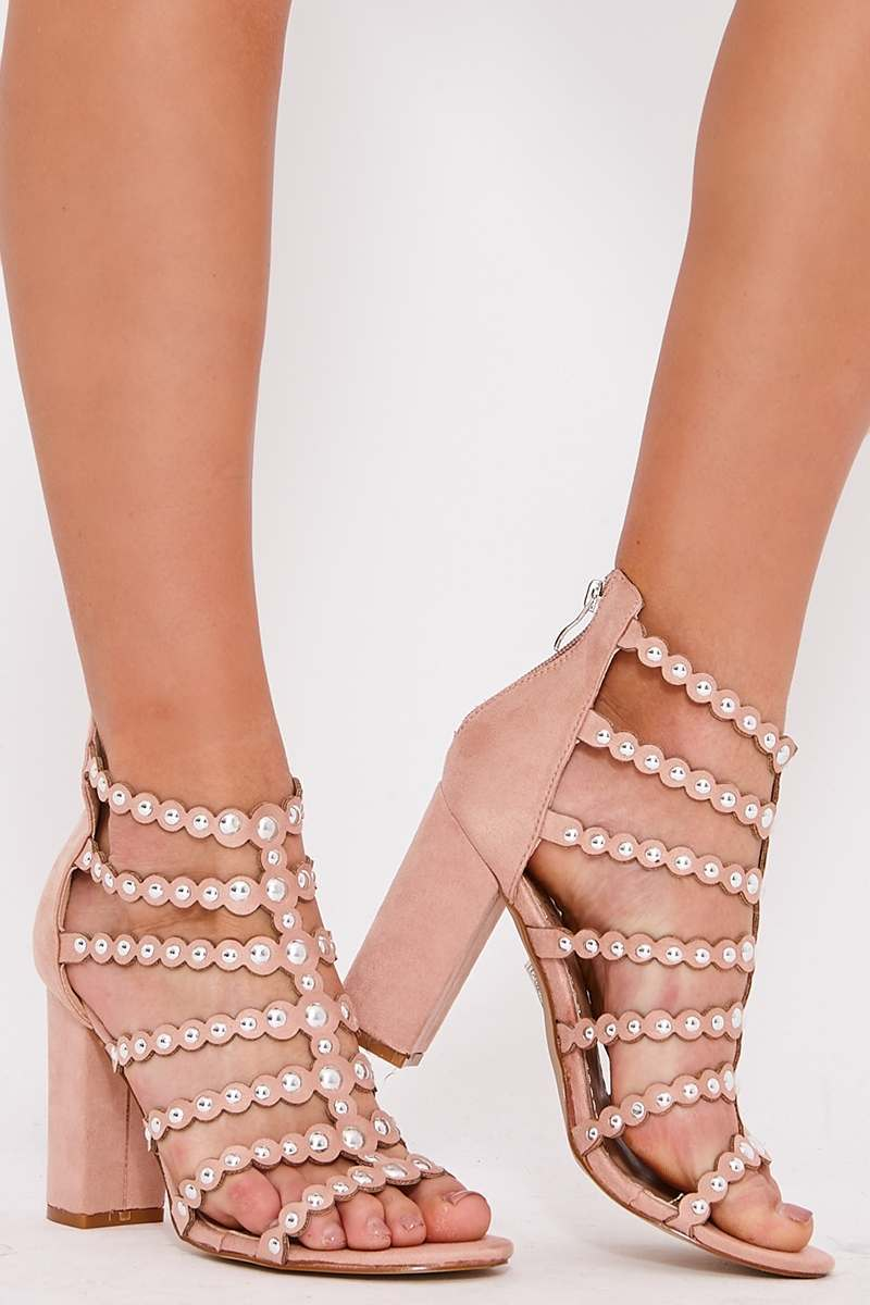 SARA NUDE STUDDED CAGED BLOCK HEEL SANDALS