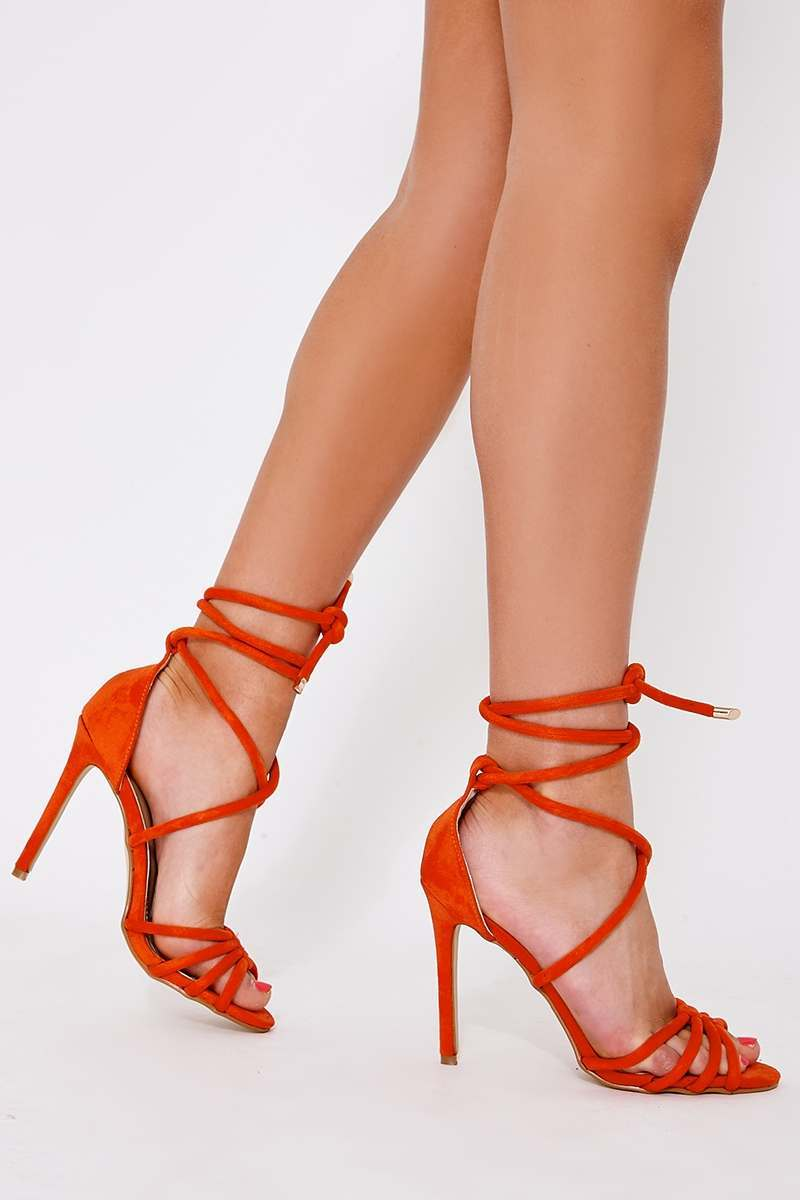 orange faux suede lace up heeled sandals