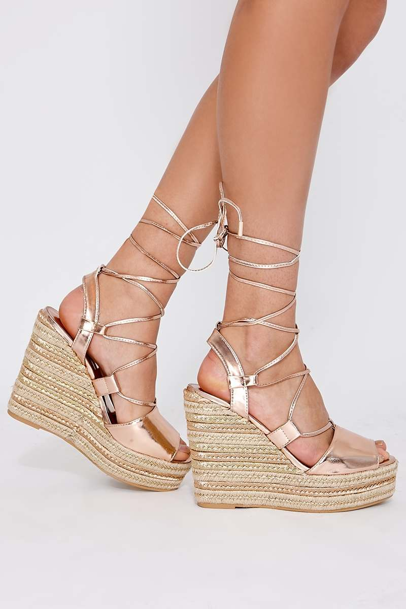 PONI ROSE GOLD LACE UP ESPADRILLE WEDGES