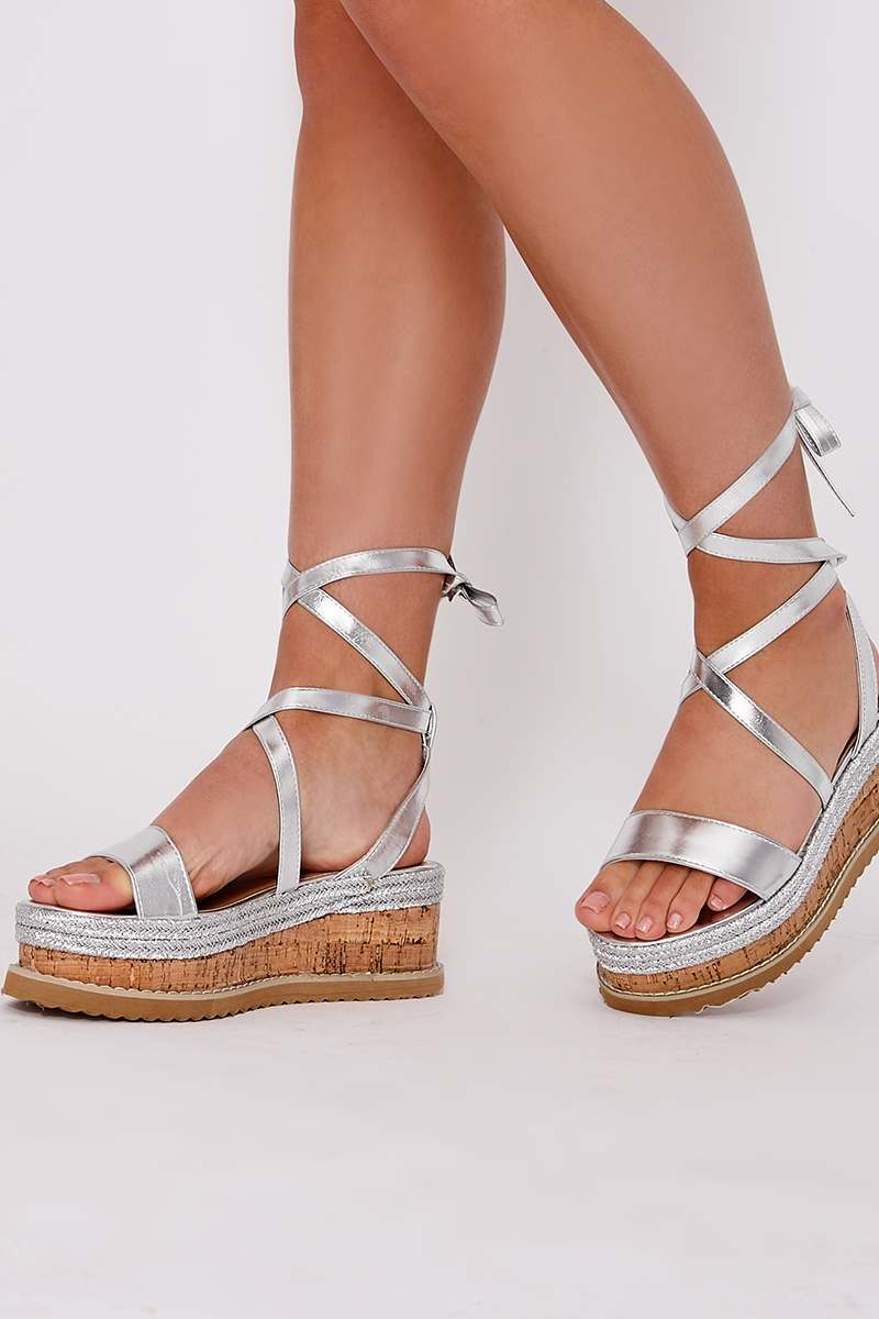 silver tie leg platform espadrilles