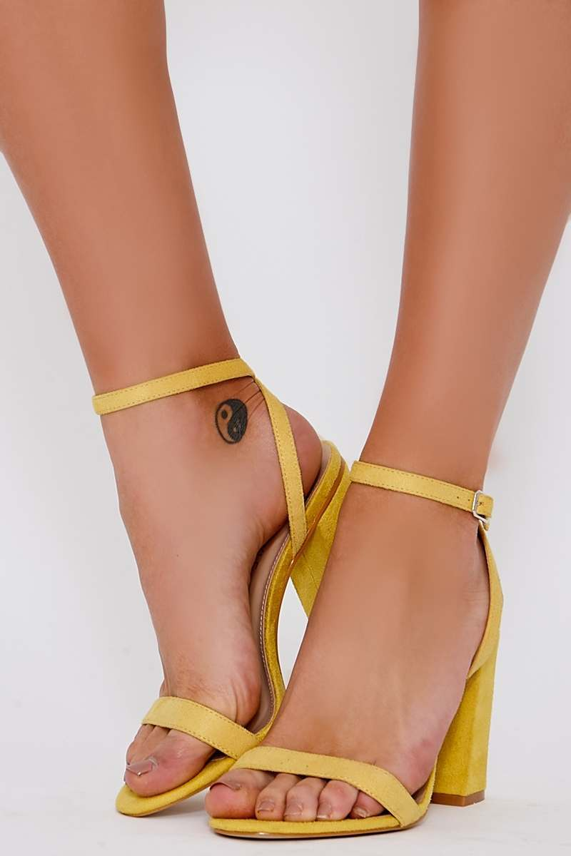 yellow faux suede barely there block heels