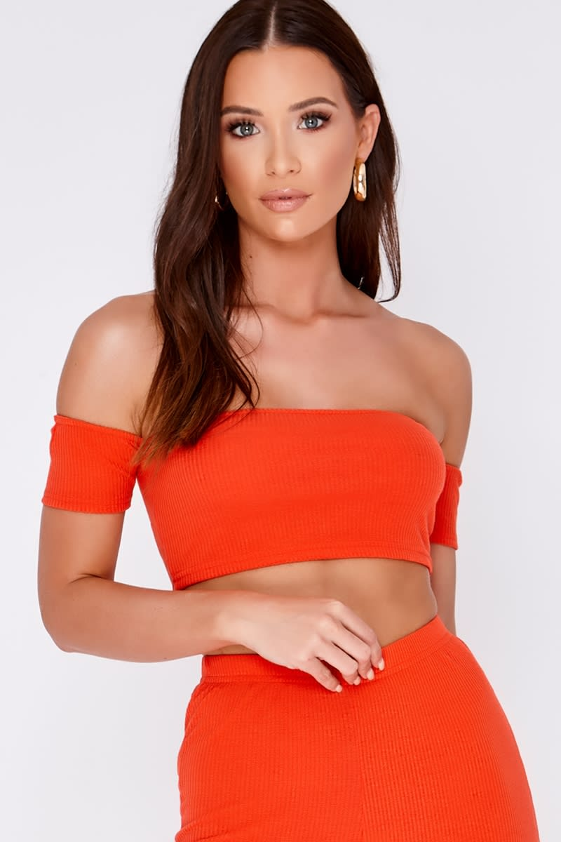 orange ribbed bardot co-ord crop top