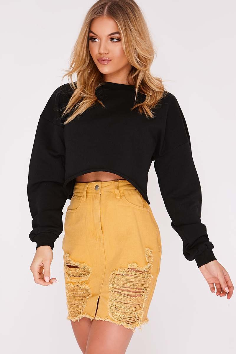 LEEAH BLACK CROPPED SWEATER