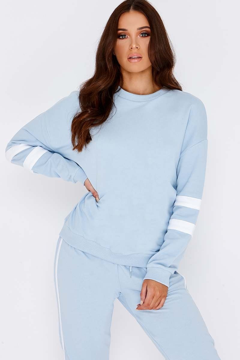 baby blue sports stripe sweater