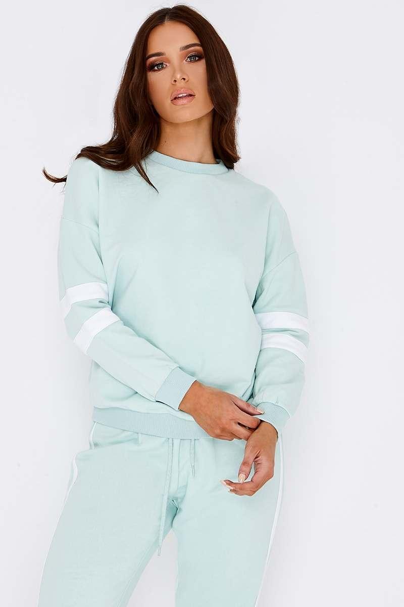mint green sports stripe sweater